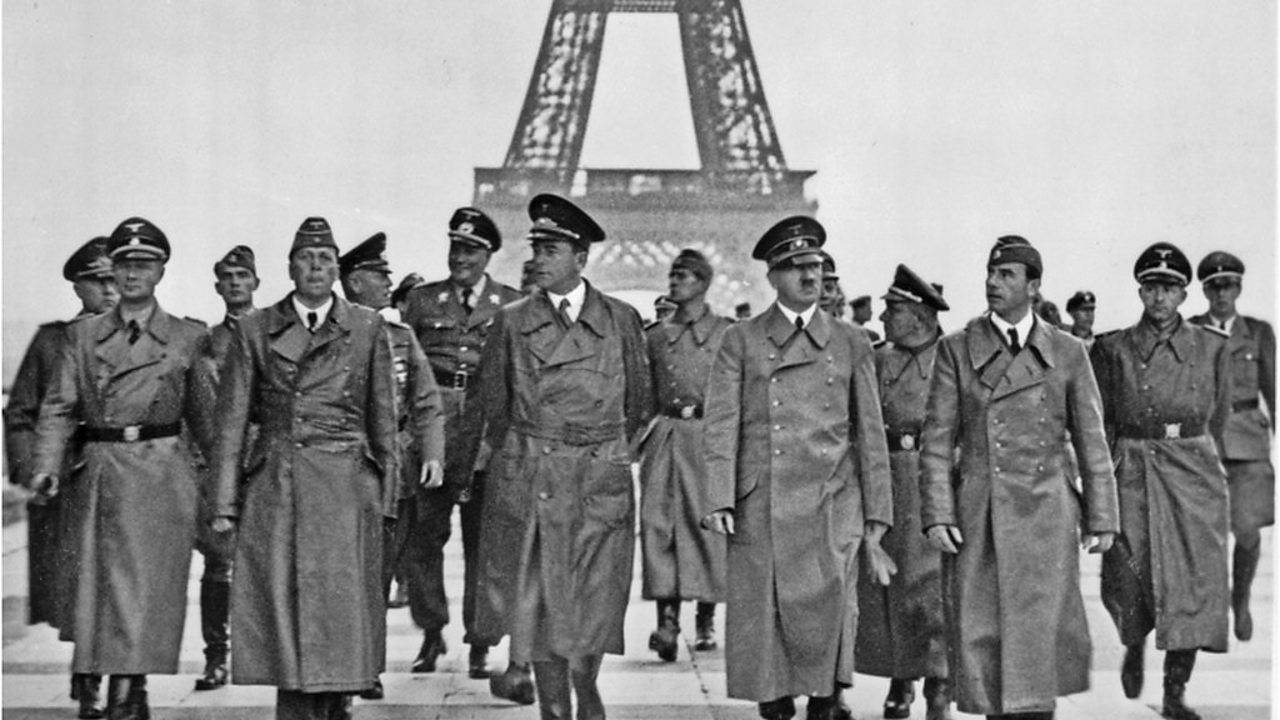Hitler with his generals in Paris.