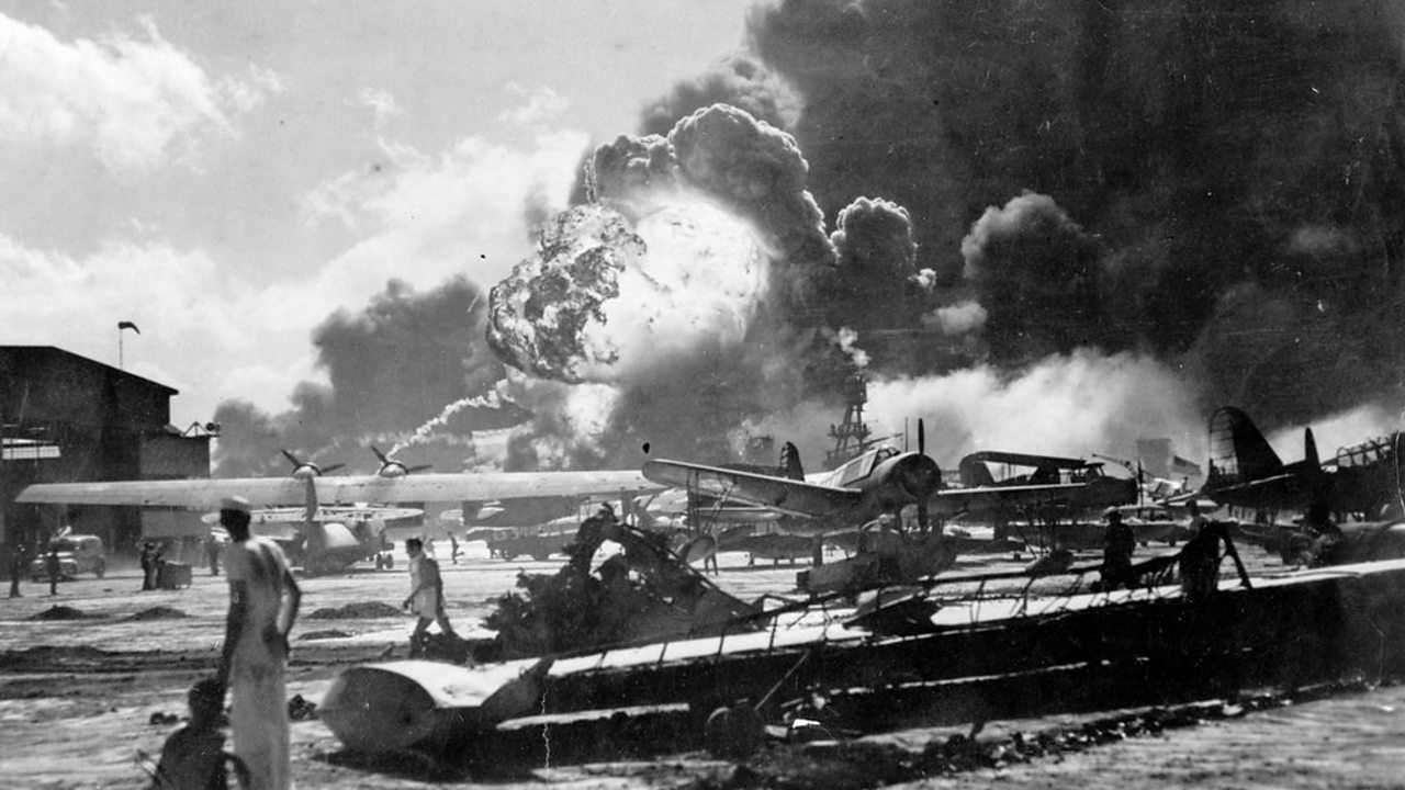 Aftermath of the attack on an air base near Pearl Harbour.