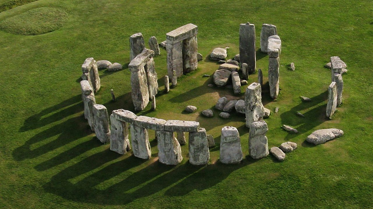 An aerial view of Stonehenge