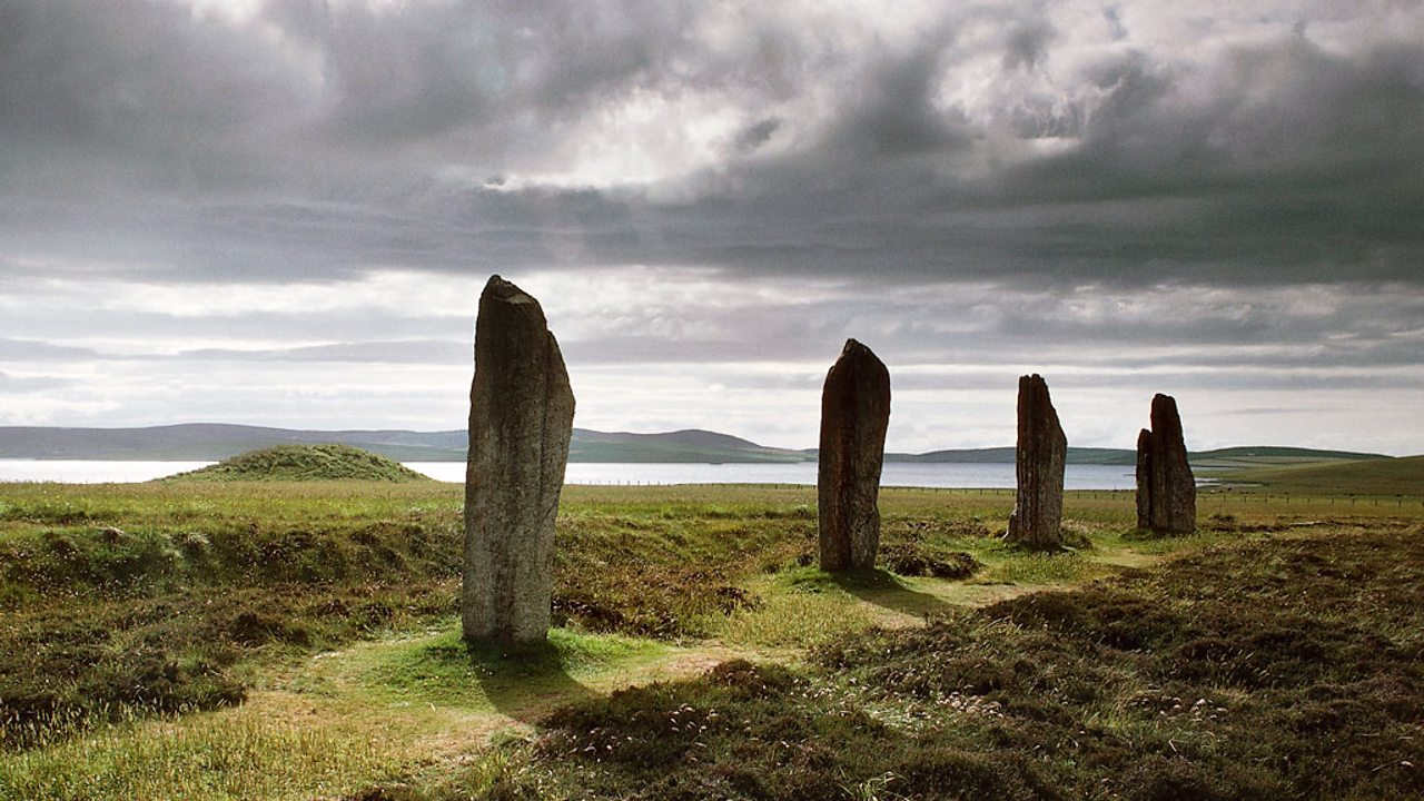 A photo of four standing stones from the Ring of Brodgar on the Orkney Islands in Scotland.