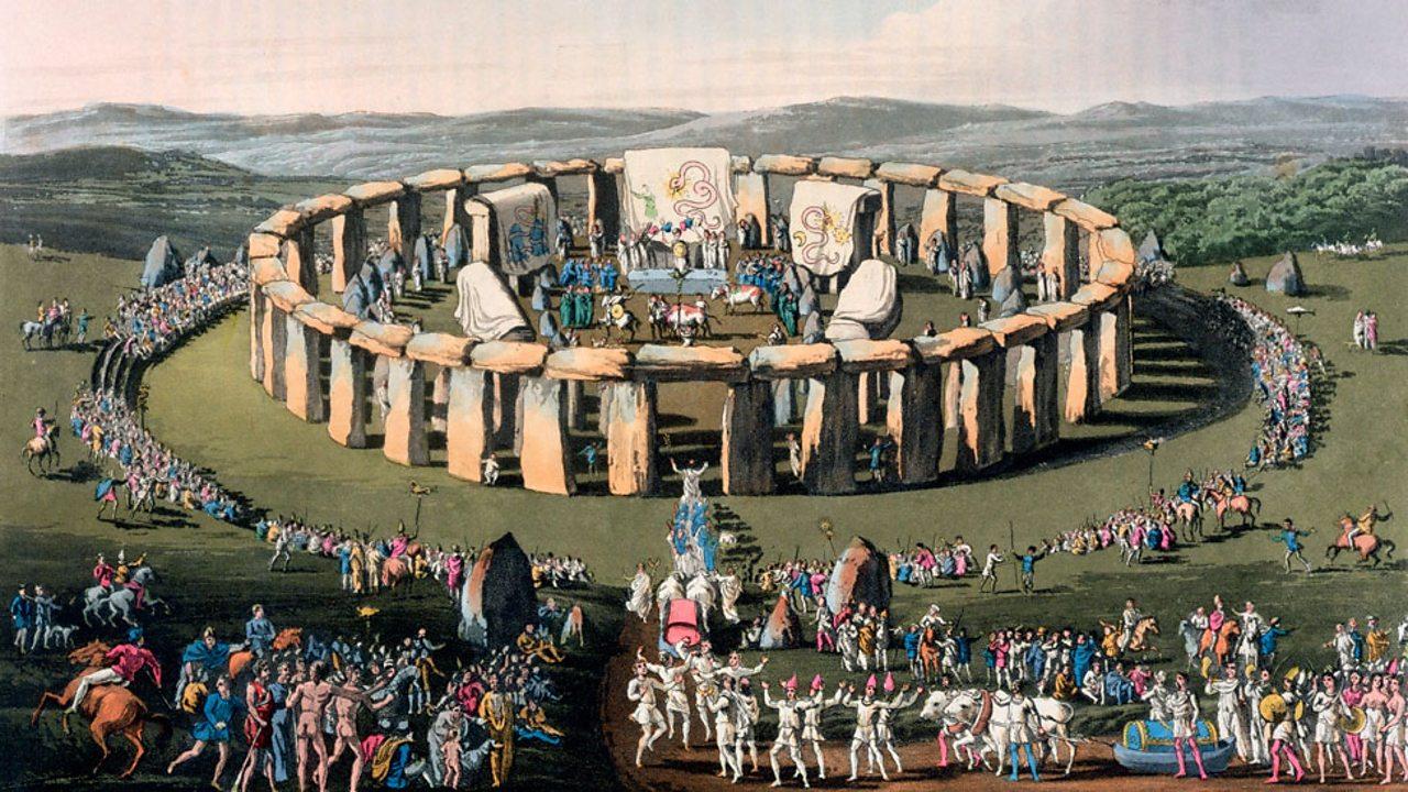 An artist's illustration of Stonehenge celebration