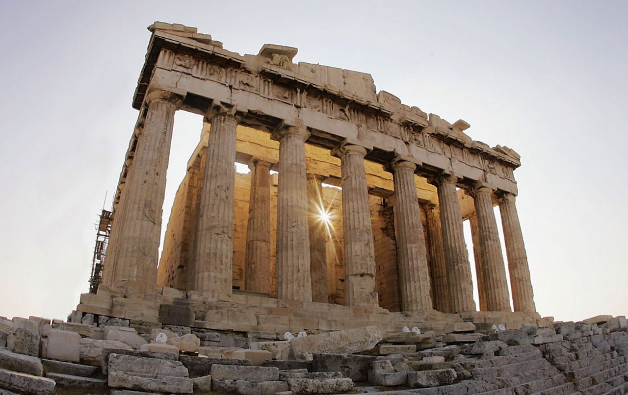The Parthenon on top of the Acropolis