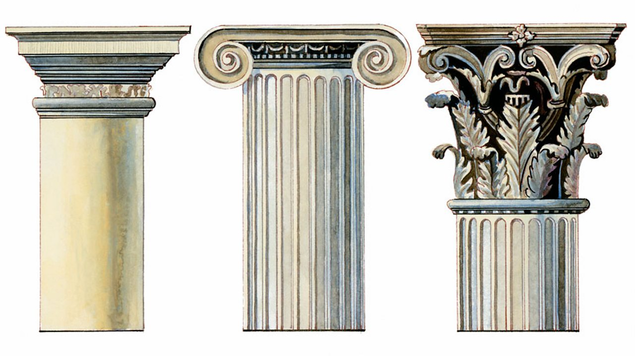 Three different designs of Greek columns