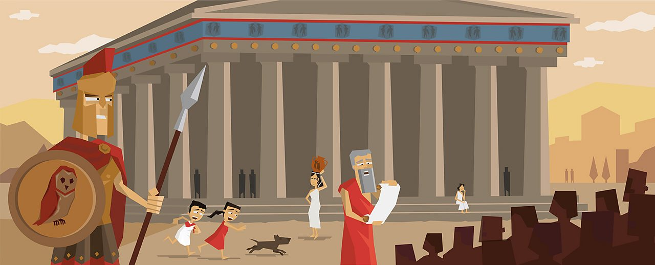 An establishing shot of Warriors, Gods and heroes in the setting of Ancient Greece.