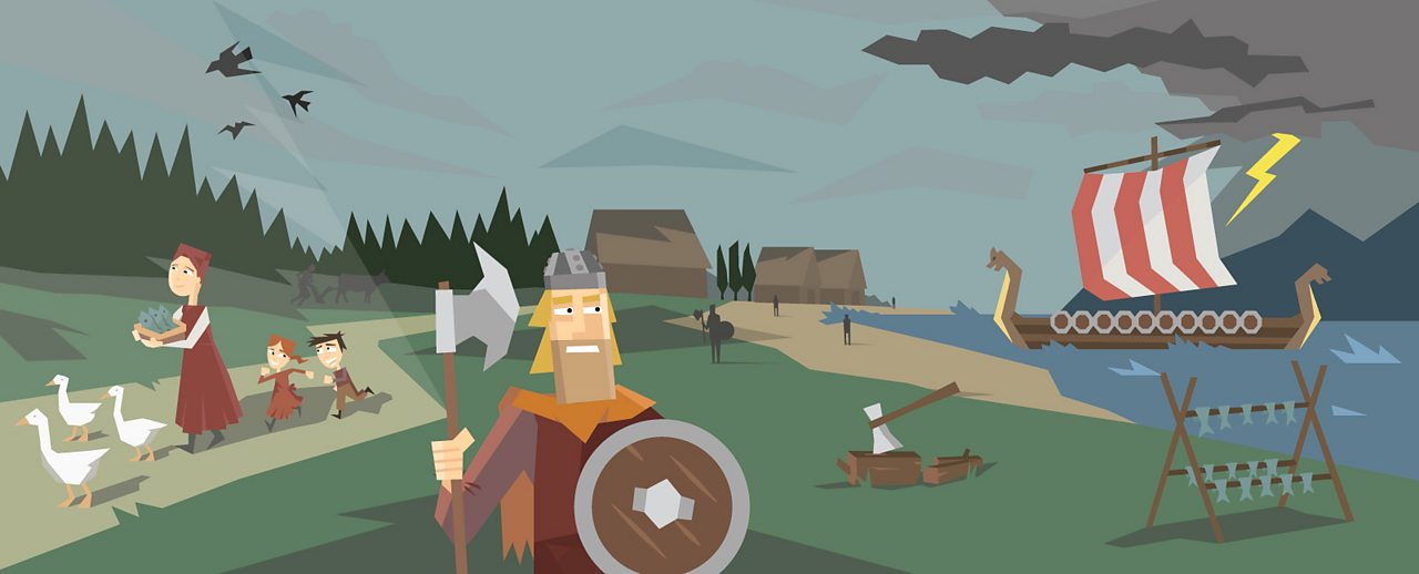 An illustrated Viking scene with a warrior and a longship