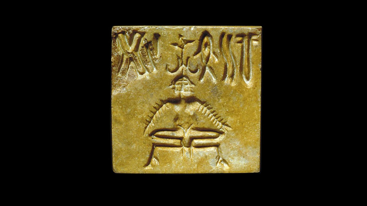 An Indus seal showing a character.