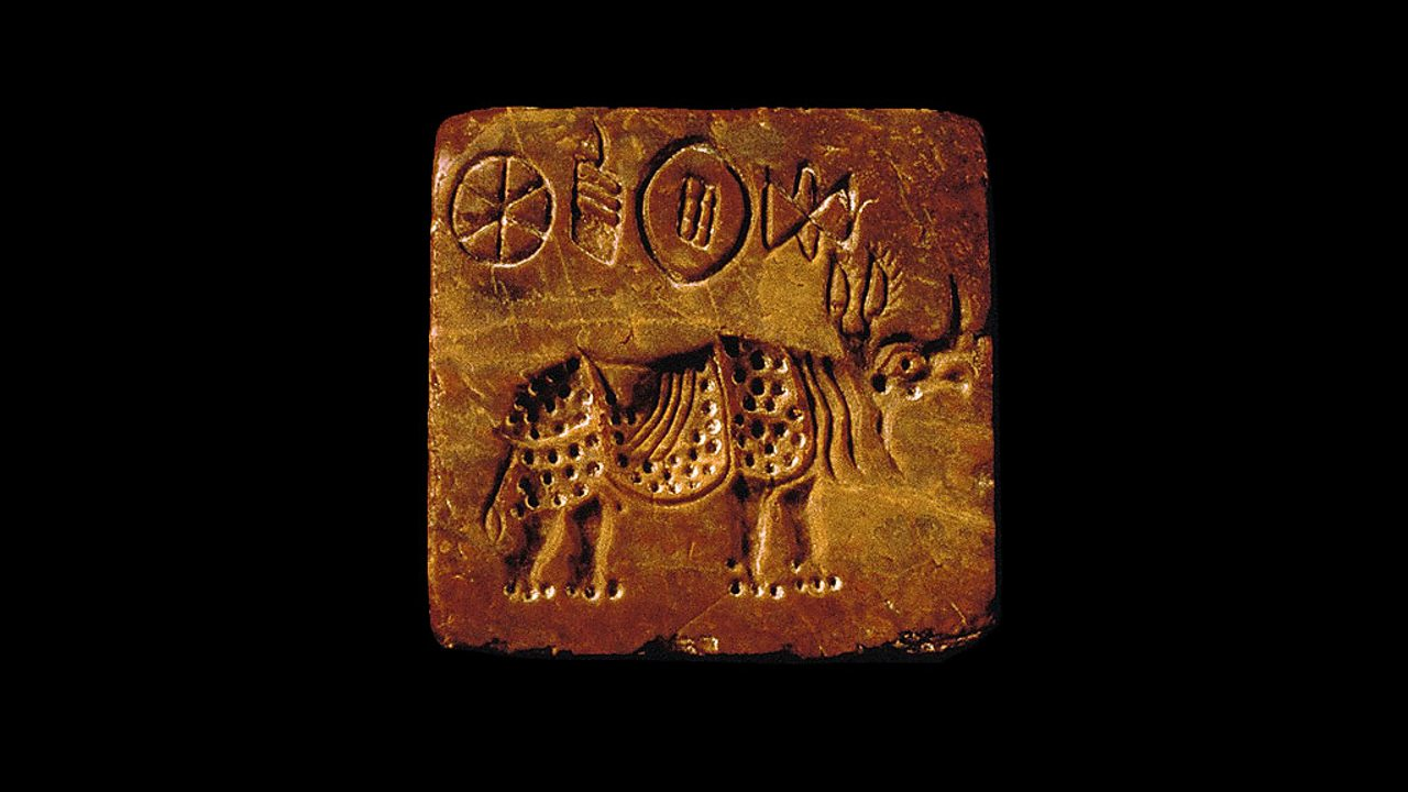 An Indus seal showing a rhino.