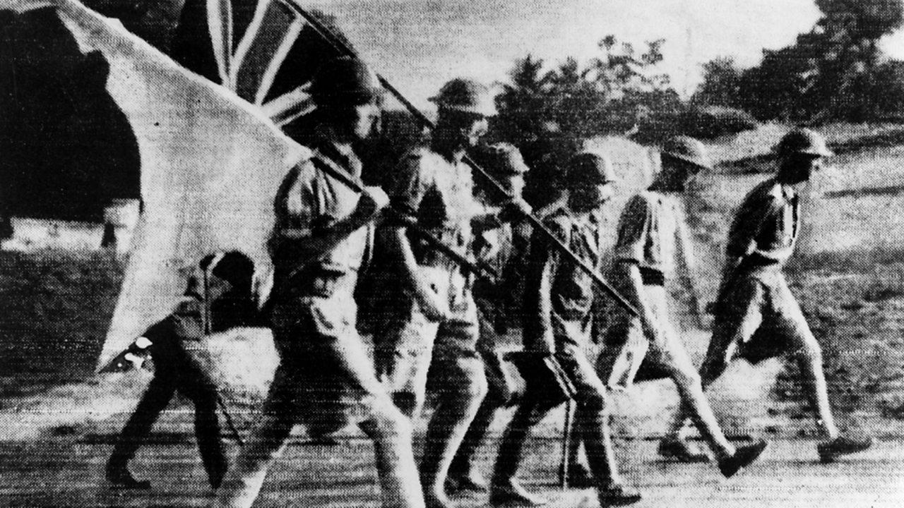British forces surrender in Singapore.