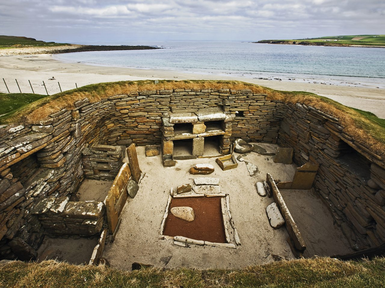 A Viking settlement at Skara Brae in the Orkney Islands, Scotland