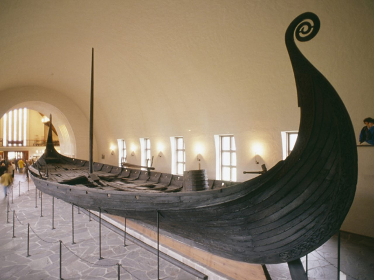 The Oseberg longship in the Vikingskiphuset, Oslo.