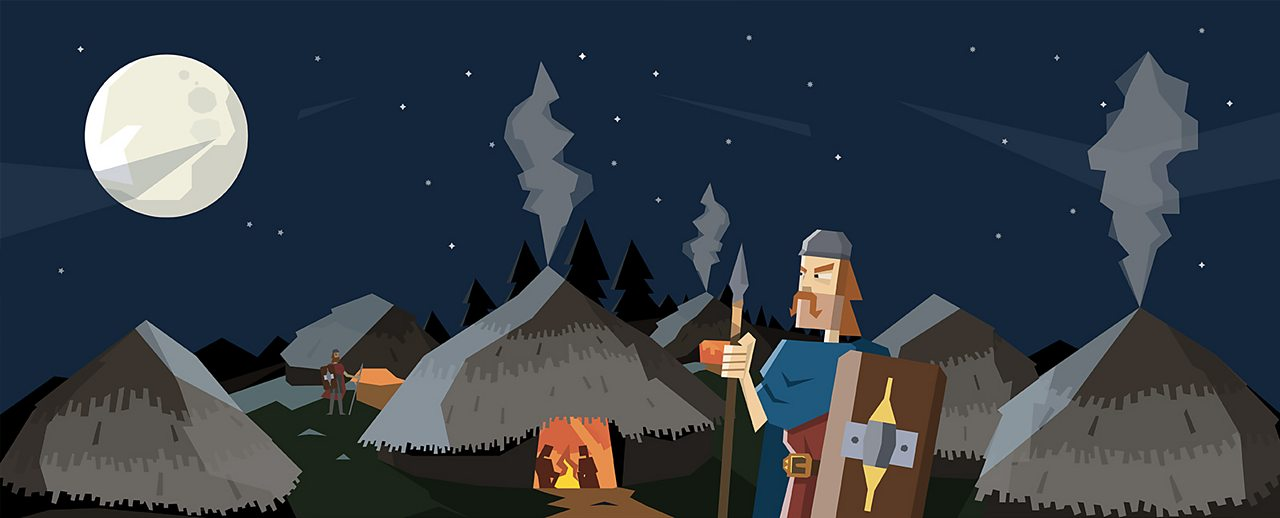 An animated image of a soldier guarding the Iron Age settlement.
