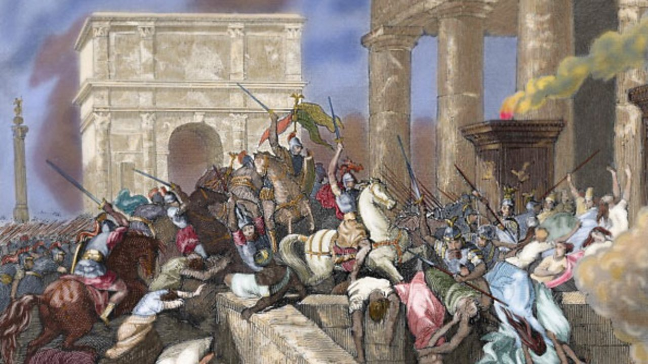 A painting showing the Visigoths storming the city of Rome in AD410