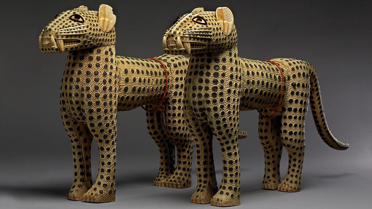 Two leopards made from ivory