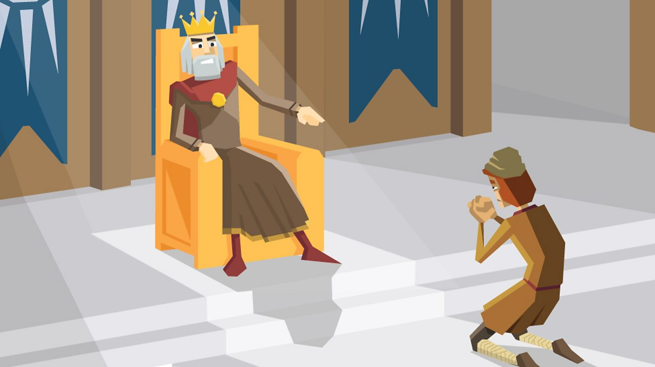 An Anglo-Saxon king condemns a man to be punished for a crime