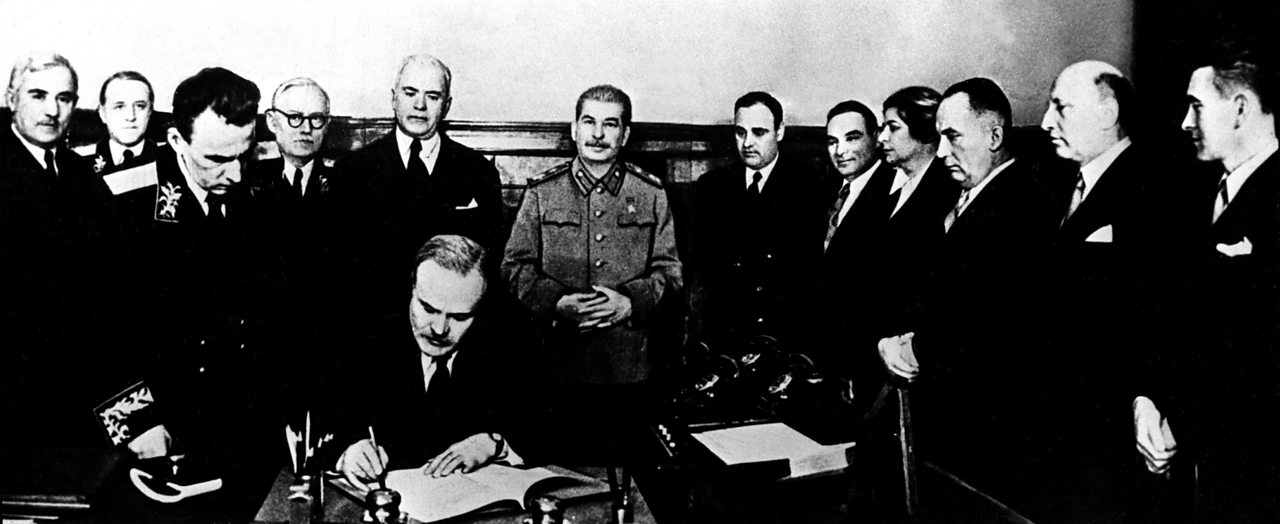 Signing of the Molotov-Ribbentrop Pact in Moscow.