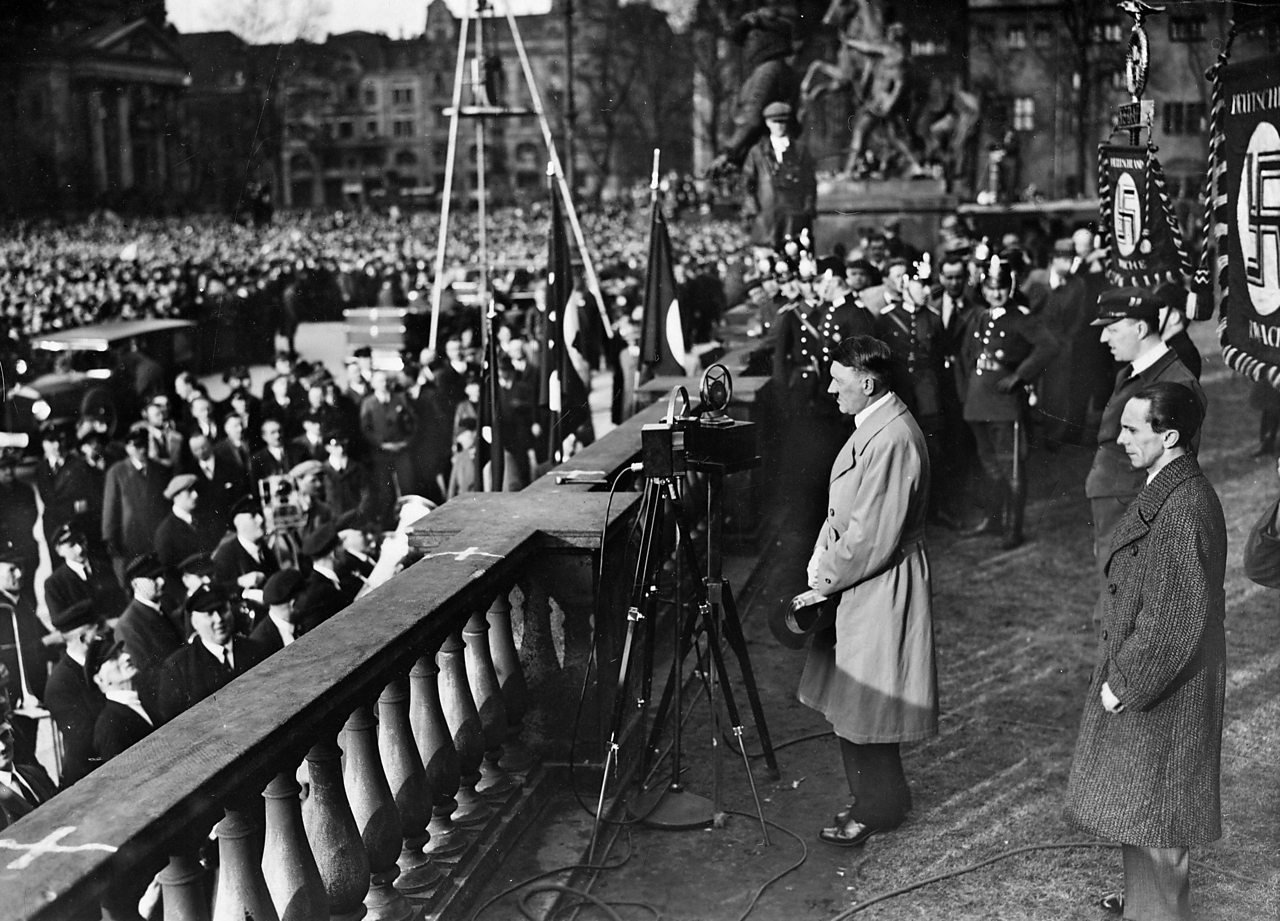 Hitler giving a speech during his election campaign.