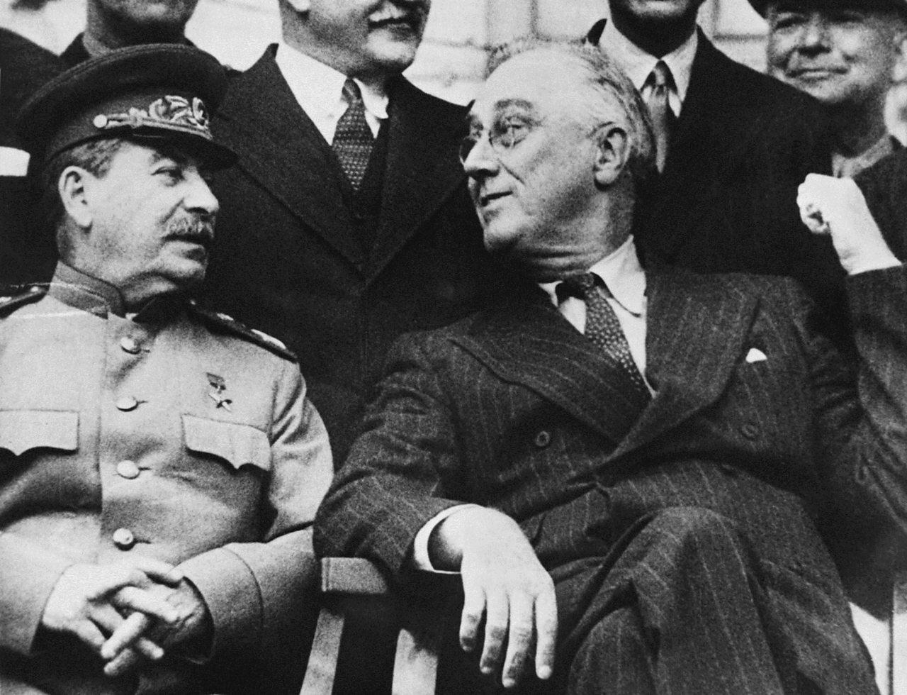 Soviet leader Joseph Stalin and American President Franklin D Roosevelt in 1943.