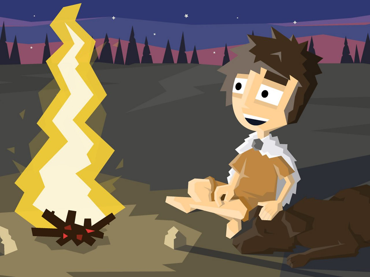 A prehistoric boy sat with his dog near a camp fire
