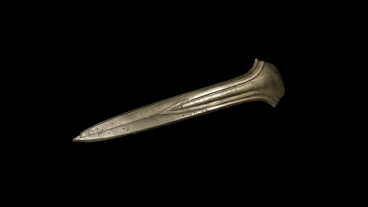 A large bronze dagger found in Oxborough, Norfolk