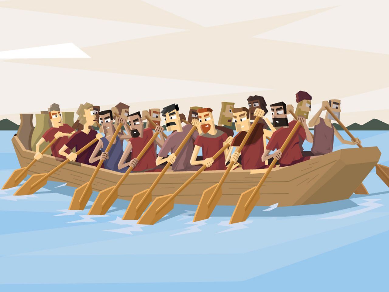 A group of travellers rowing in a boat