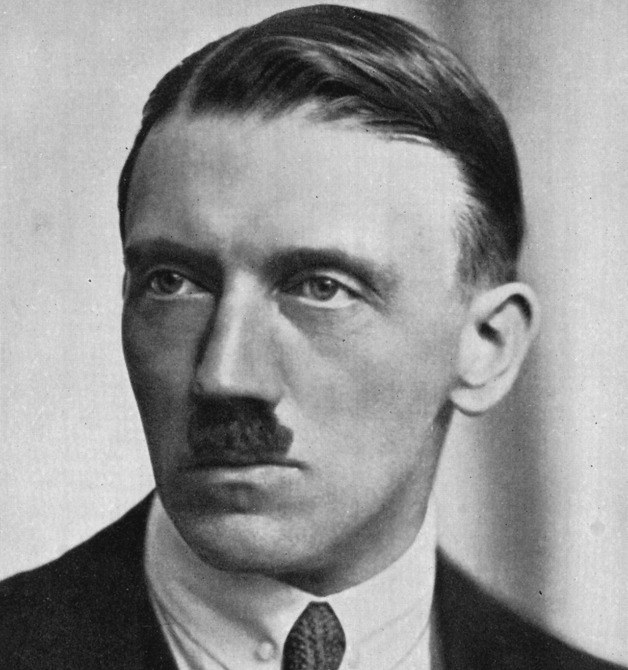 Hitler and his distinctive toothbrush moustache.