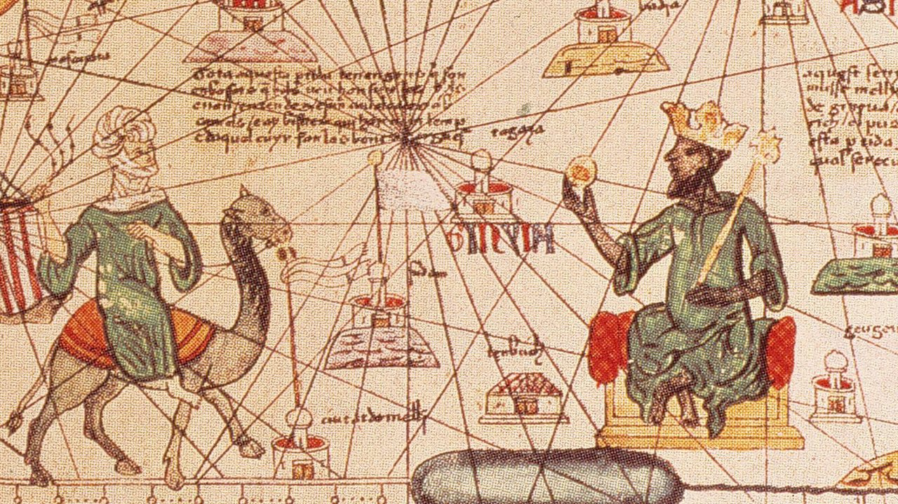 A map showing Mansa Musa with an Arab traveller