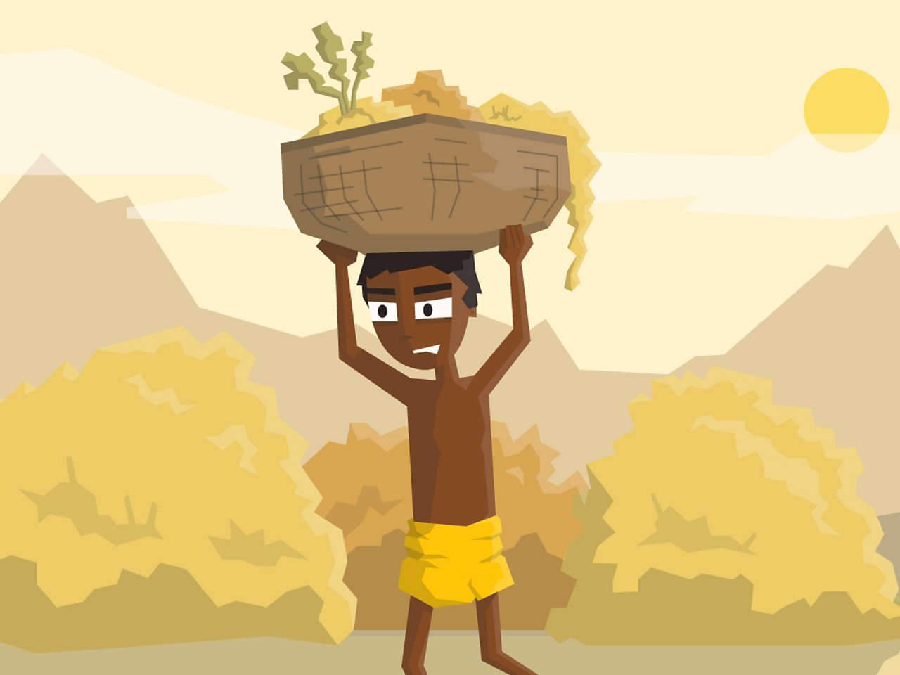 A boy in the Indus Valley carrying a basket