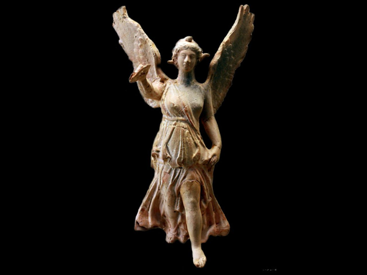 A statue of the winged goddess Nike