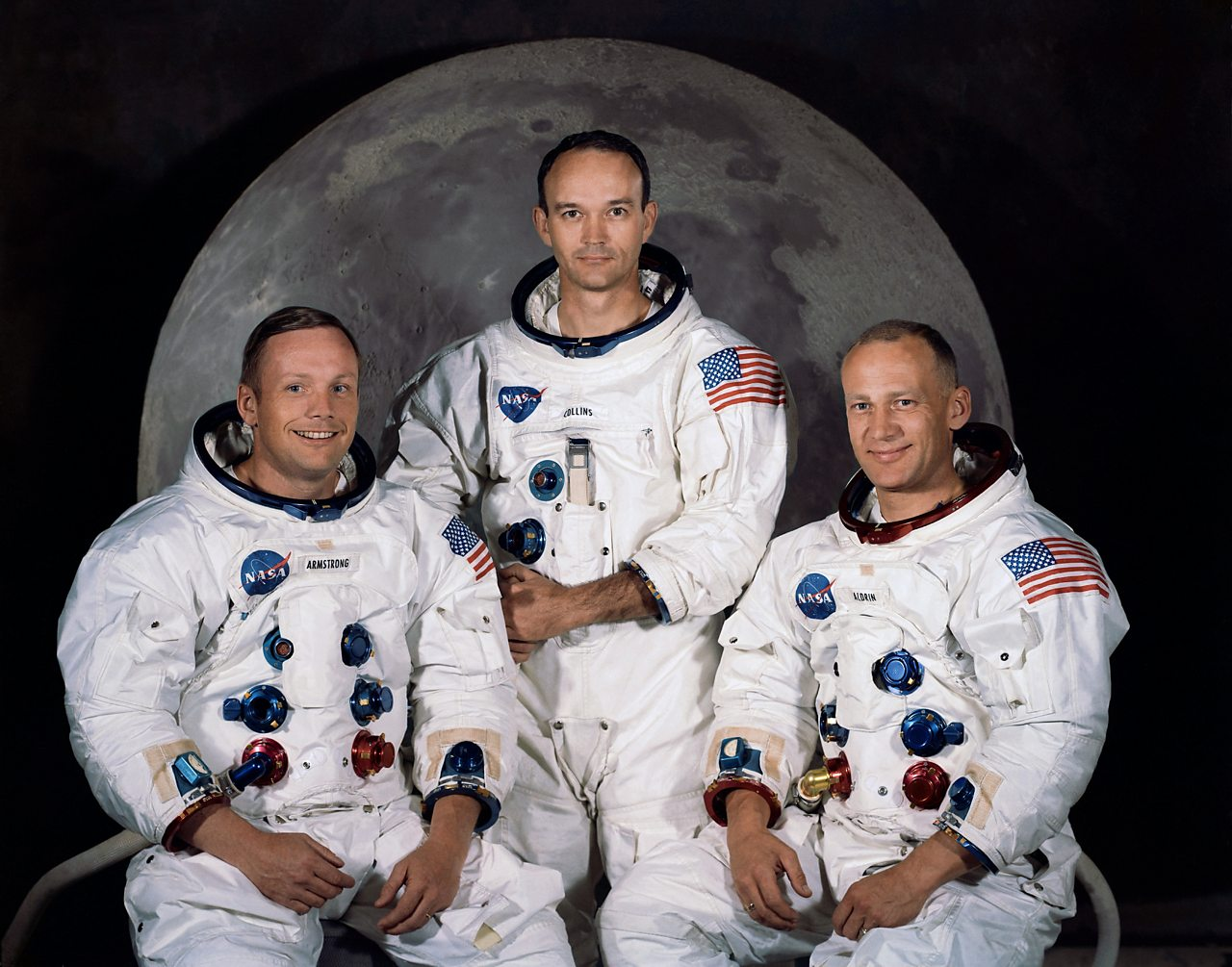 Introducing the Apollo 11 Crew: Left: Neil Armstrong (commander). Centre: Buzz Aldrin (lunar module pilot). Right: Michael Collins (command module pilot).