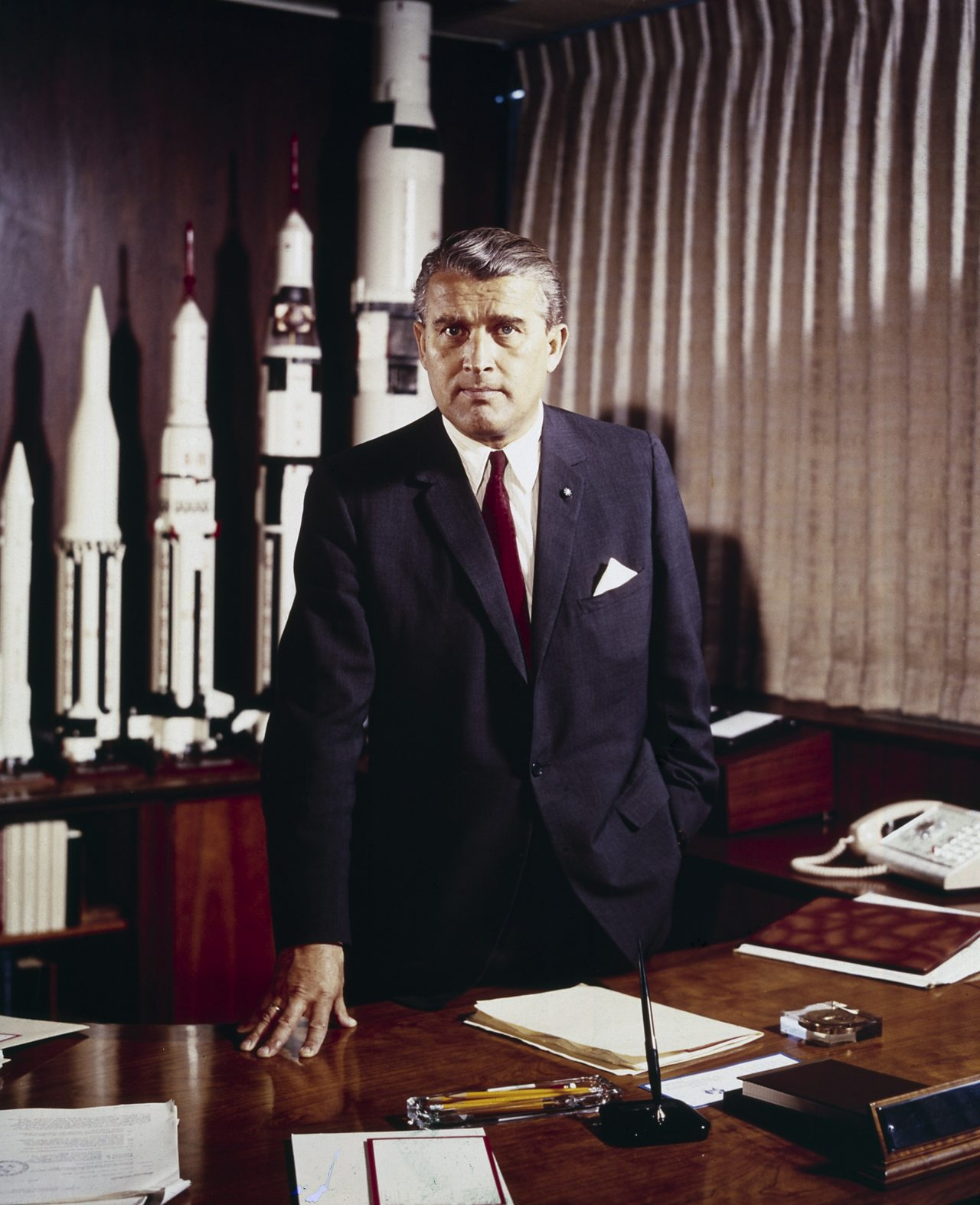 Dr Wernher Von Braun, the brains behind Saturn V.