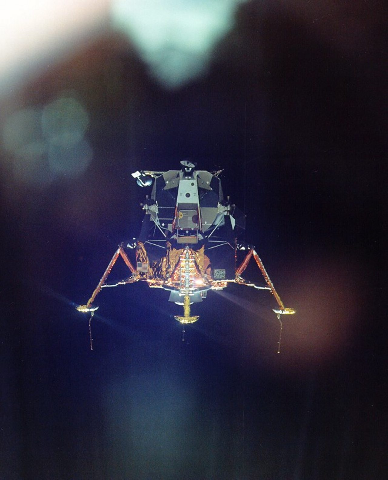 The Lunar Module heading for the Moon.