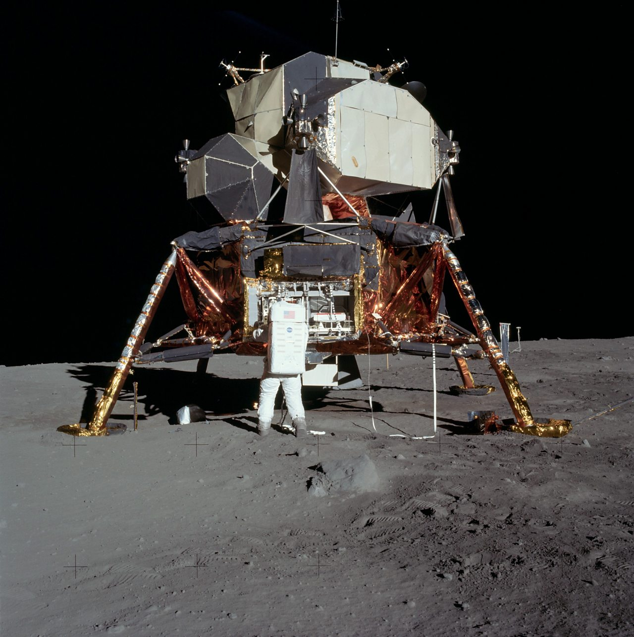 The lunar module on the surface of the moon