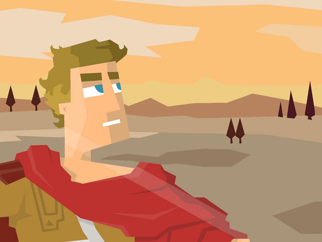 Alexander the Great survaying hte Greek landscape.