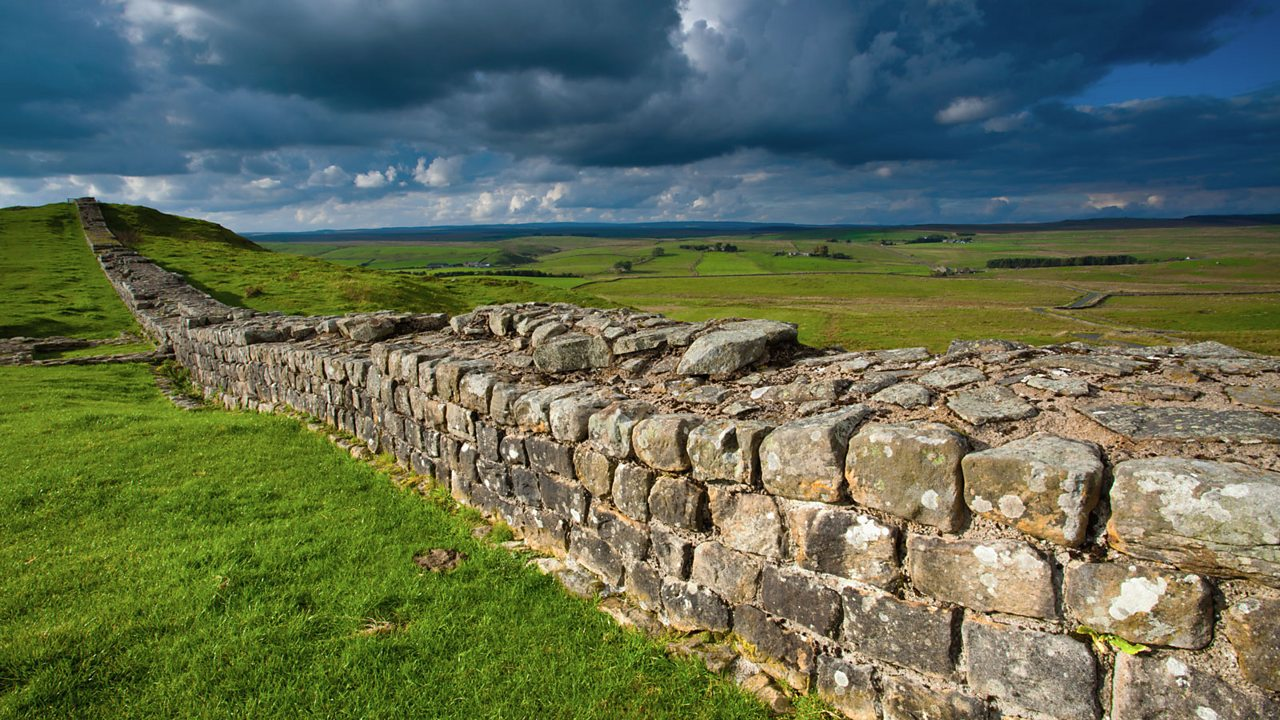 Hadrian's wall travelling into the horizon.