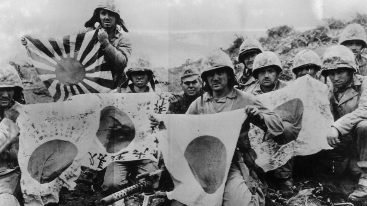 Captured Japanese flags from the Battle of Iwo Jima