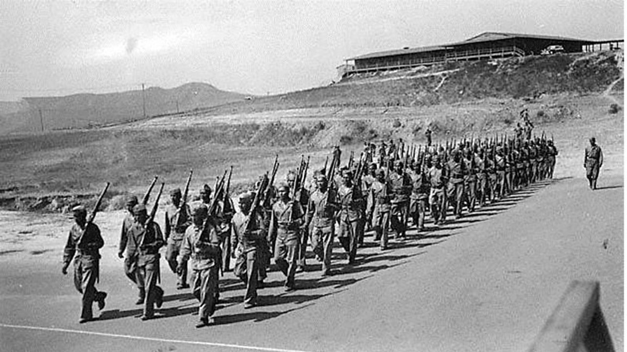 A group of Code Talkers training in the Pacific