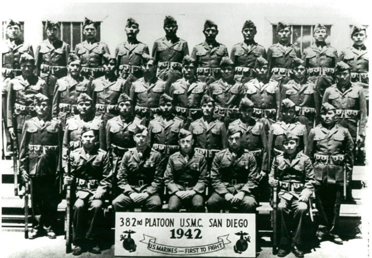 Platoon of Navajo soldiers