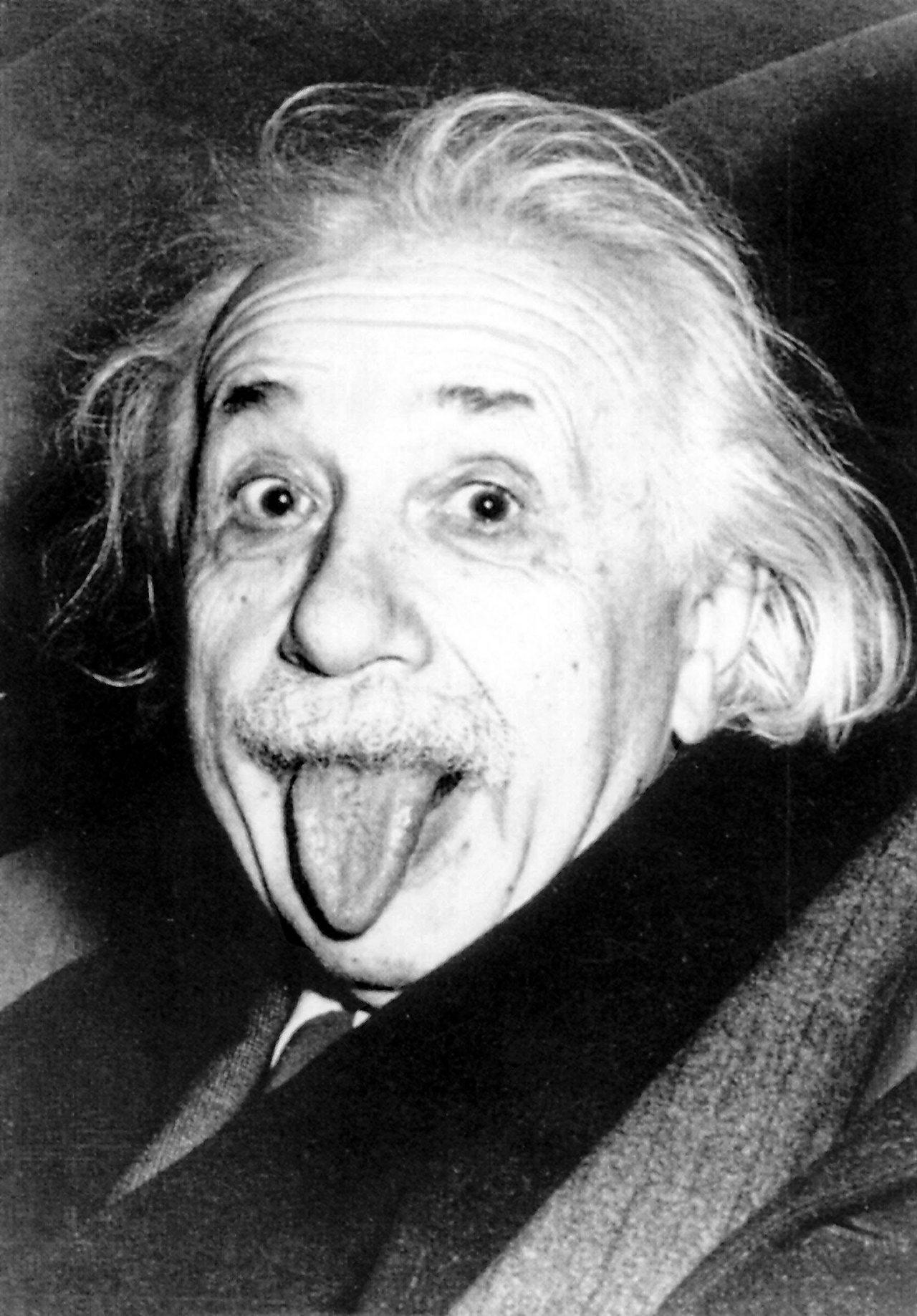 Albert Einstein sticking his tongue out