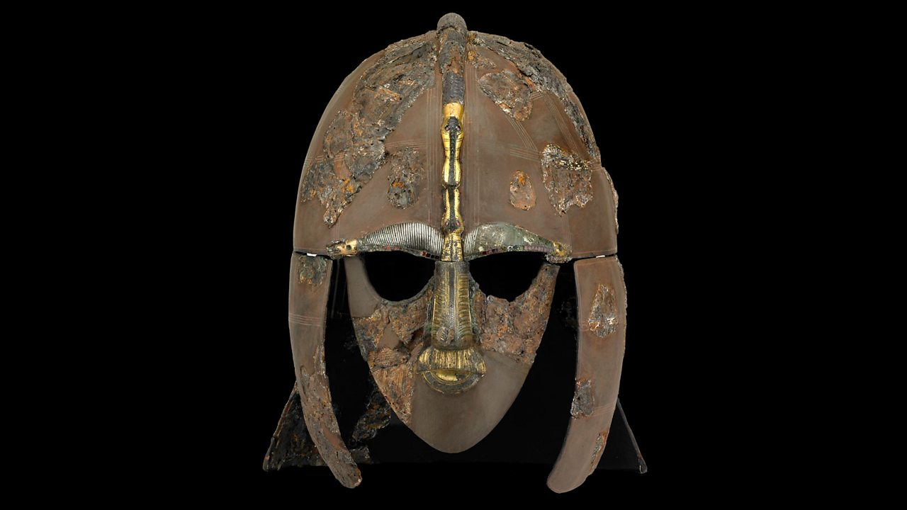 A rusty Anglo Saxon helmet.