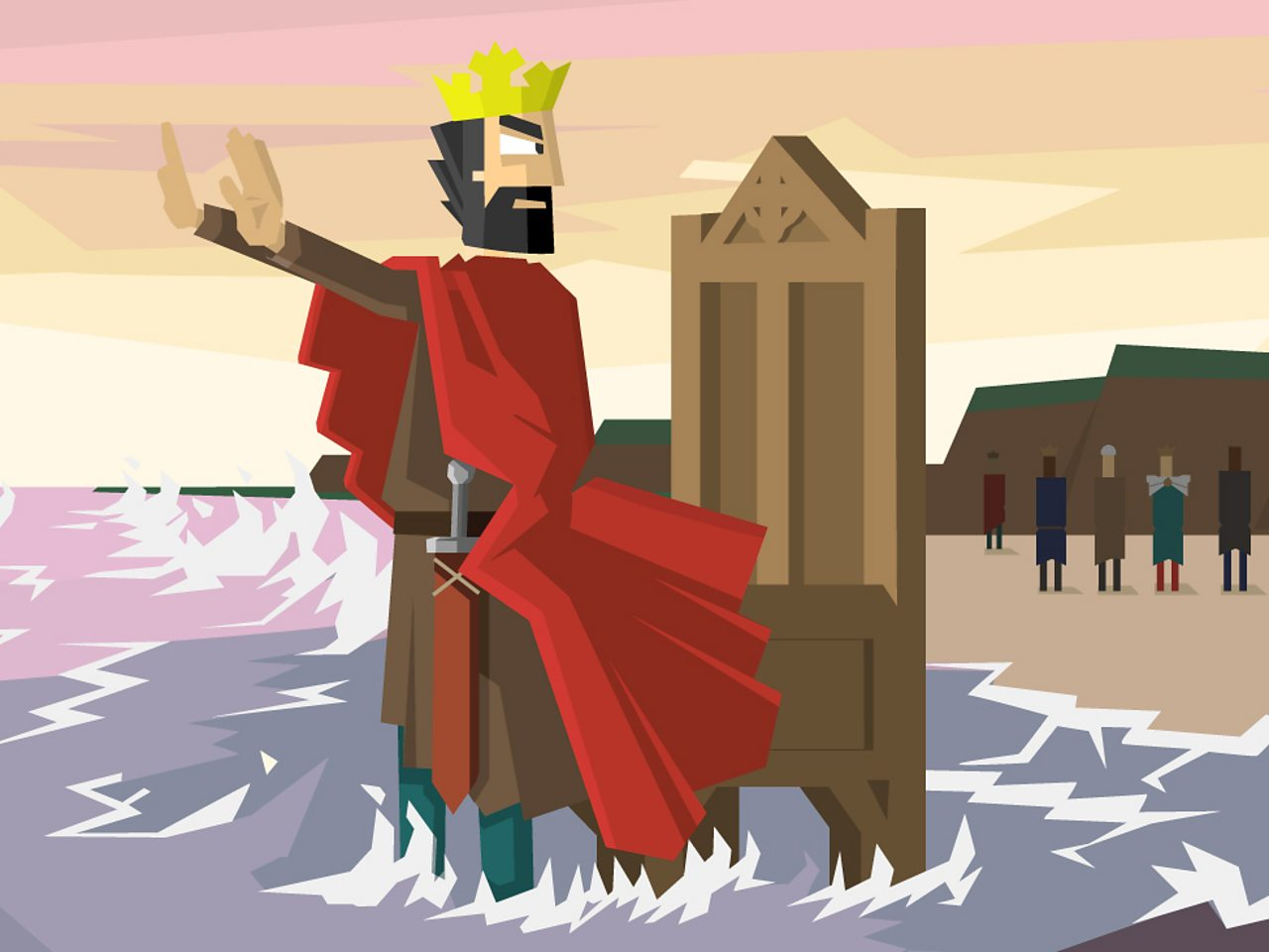 King Cnut (Canute) standing on a beach holding out his hands to the tide