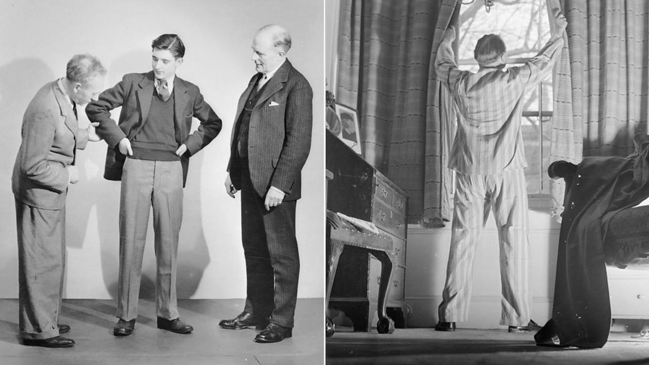 Left: A group of three men wearing casual grey suites. Right: A man wearing pyjamas looking out of his window.