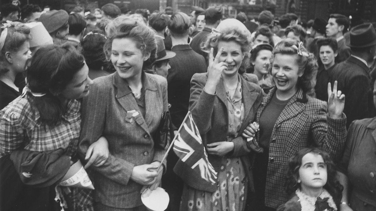 Crowds gathering in London on VE day