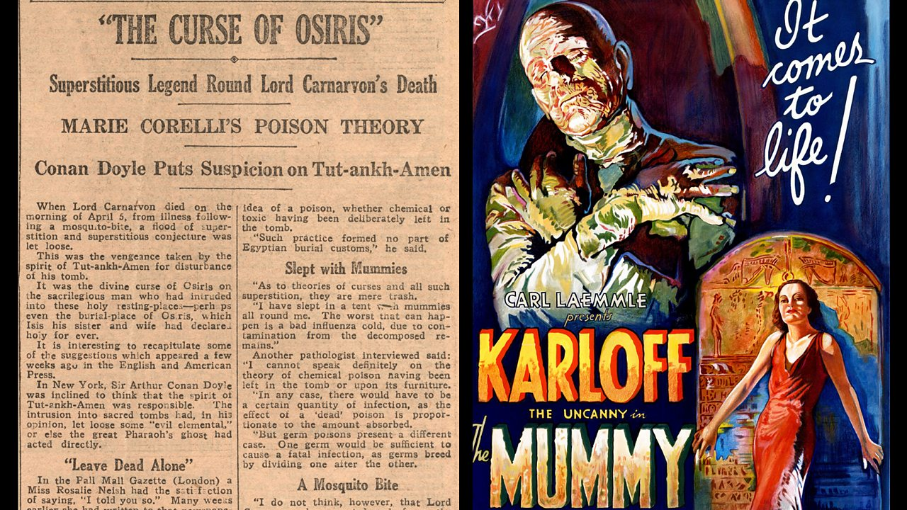 Left: newspaper article about the curse of osiris. Right: Movie poster for 'The Mummy'.