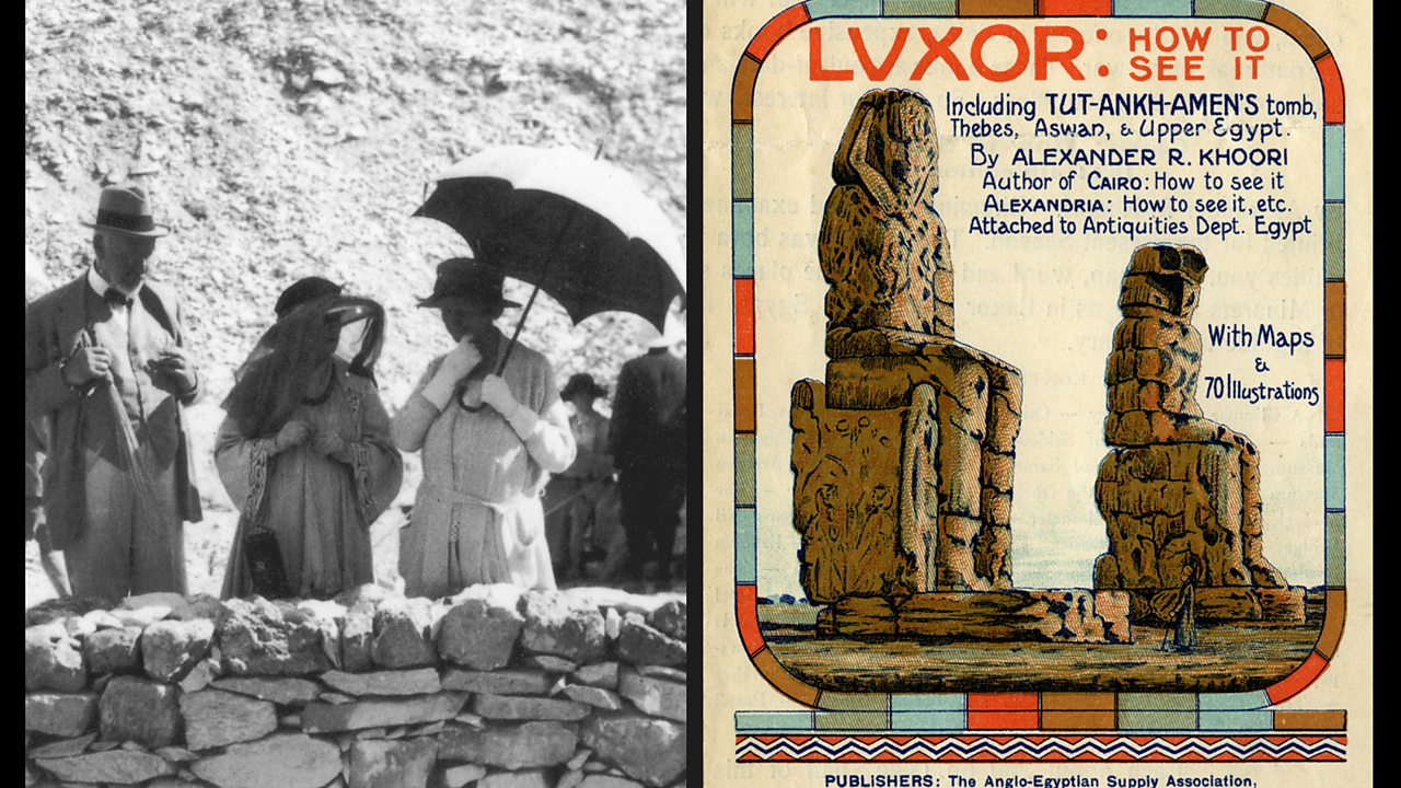 Left: A black and white photo of tourists visiting Egypt. Right: a tour poster from the 1920's advertising trips to Luxor in Egypt.