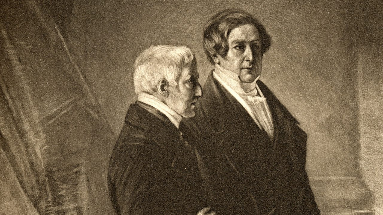 The Duke of Wellington in conversation with adviser and future prime minister Sir Robert Peel.