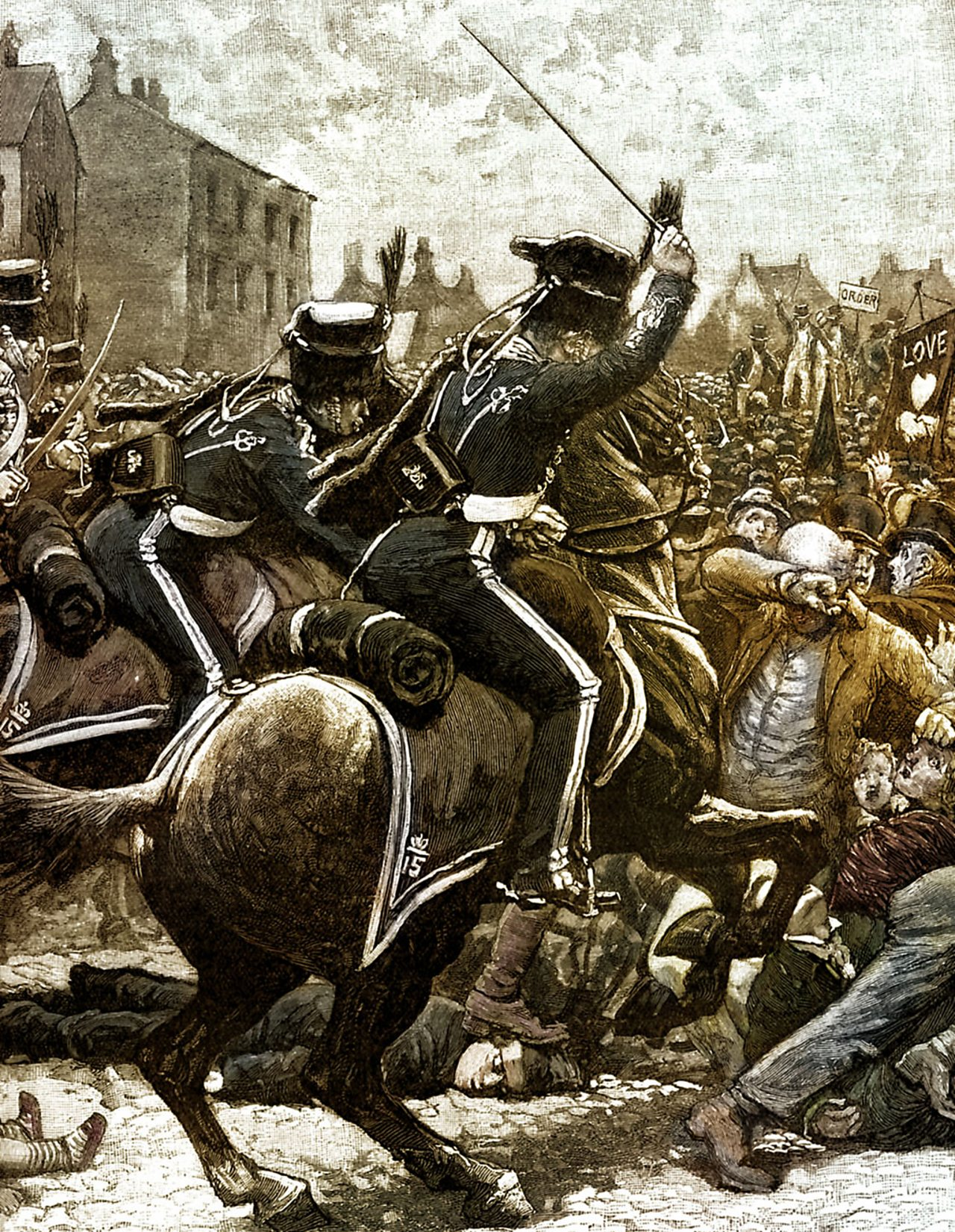 Many were killed and hundreds injured when cavalry charged the protesters at St Peter's Fields in Manchester.