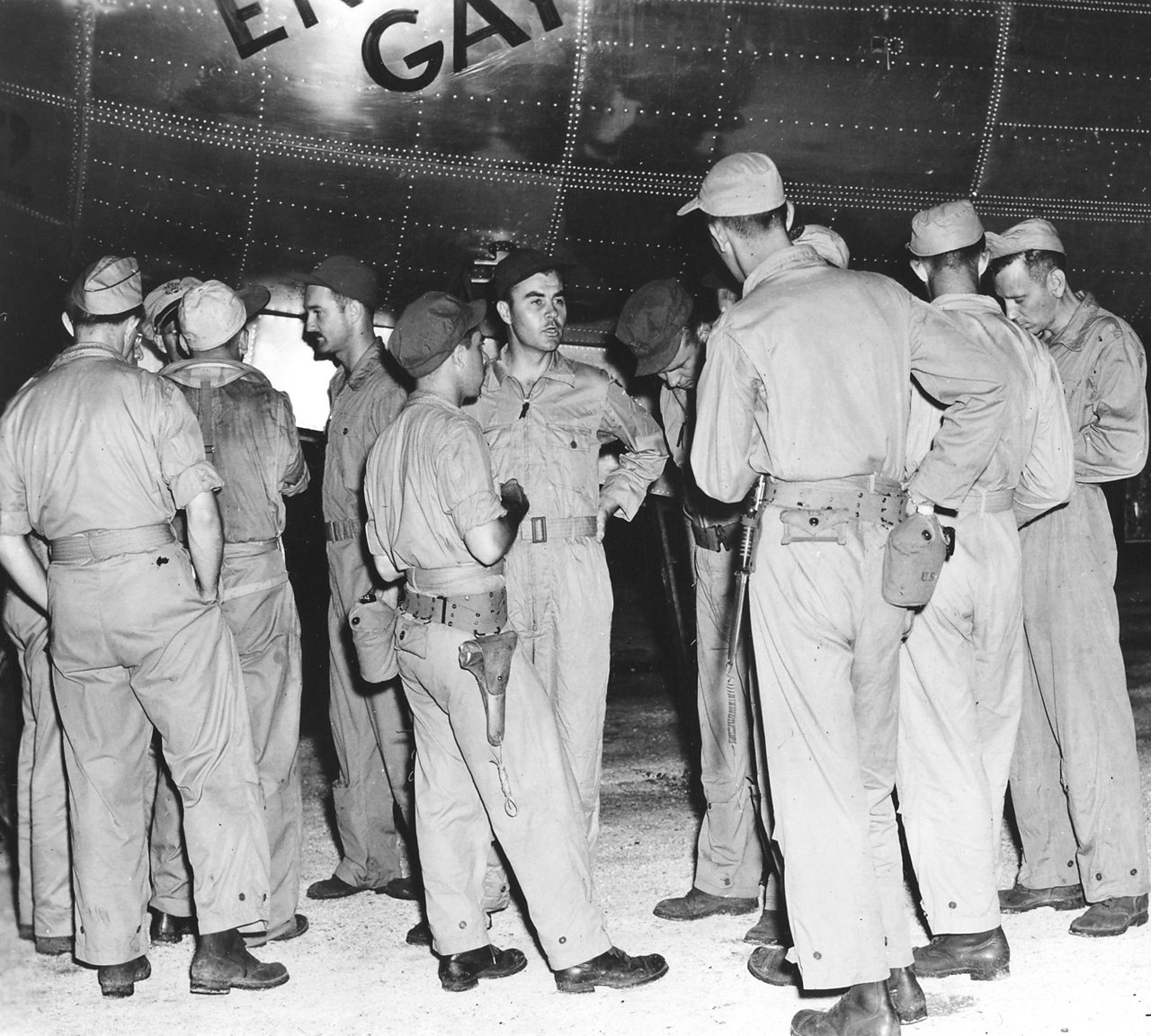 Enola Gay crew members prepare for their flight to Hiroshima.