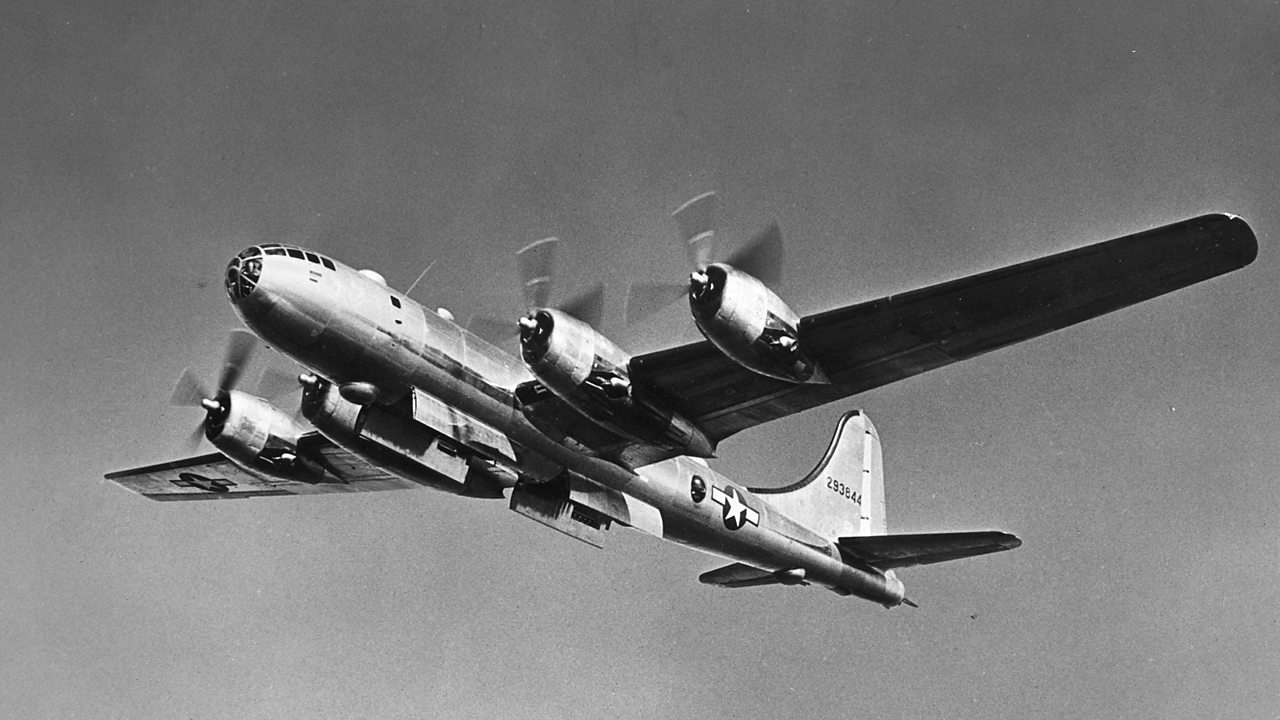 B-29 bomber plane in flight.