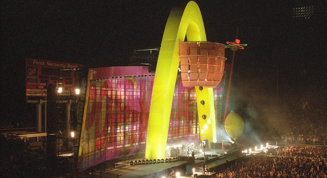 The stage of U2s PopMart tour.