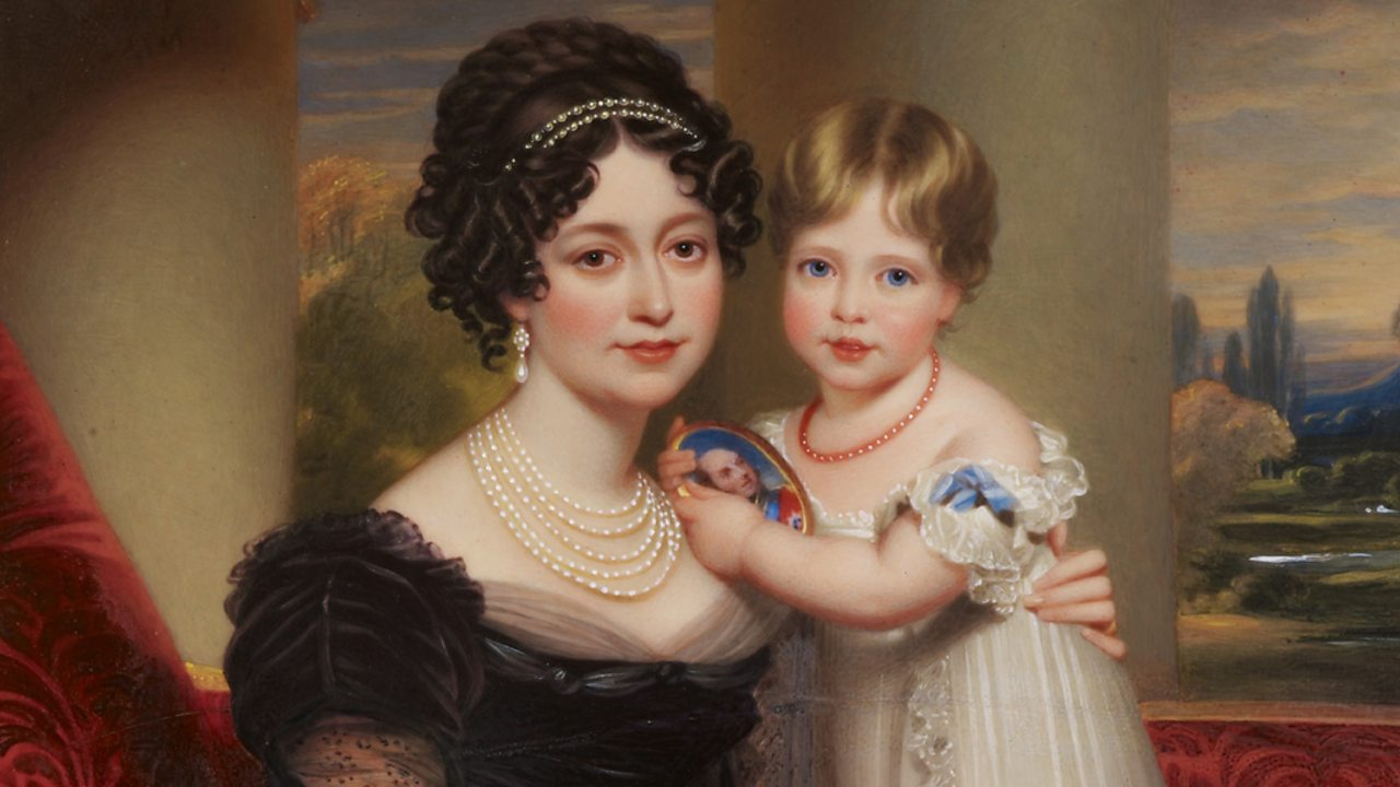 A portrait of a young Princess Victoria and her mother Victoria, Duchess of Kent in 1824.